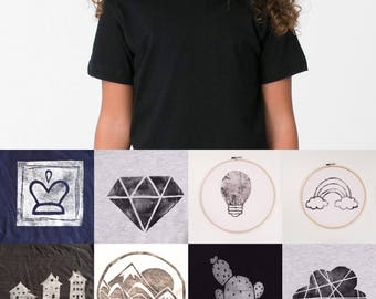 Kids T-shirt - size 6 - black - print of your choice