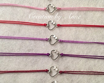 Bracelets silver heart charm connector 1 cm x1cm Bracelets adjustable xs to xxl! FREE international SHIPPING!
