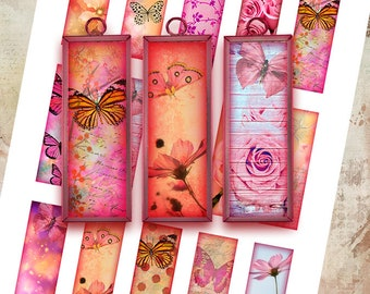 "1x3"" MICROSCOPE SLIDE IMAGES - Butterflies and Flowers - Printable Digital Collage Sheet - Jewelry Making, Glass Pendants, Scrapbooking"