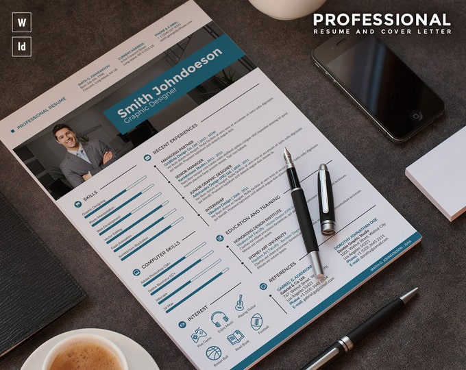 Modern Resume Template / CV Template, Best CV Design in InDesign and Word Format + Free Cover Letter | Creative and simple Curriculum Vitae