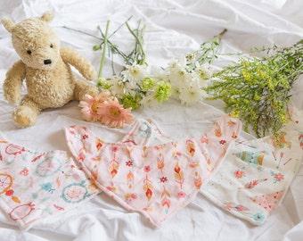 Boho Girl, Set of 3, Bib Bandana, Organic Bamboo Terry, Gift Set, Baby Shower