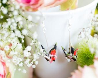 Black Sakura, Origami Crane Earrings, Sterling Silver, Yuzen Chiyogami, Japanese art, Origami Jewelry, Jewellery