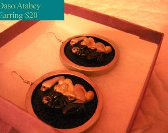 Atabey Earrings - Hand Crafted Taino Mother Earth - Cultural Taino Art