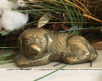 Vintage Solid Brass Dog Figurine