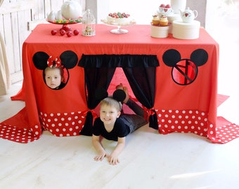 Mickey Mouse birthday, Mickey mouse tablecloth, Table playhouse, Kids indoor playground, Disney party decoration, Kids playhouse