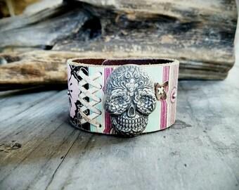 Funky Skull Concho Leather Cuff