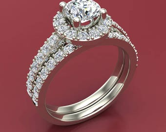 Round Brilliant Cut Halo Cubic Zirconia Engagement Ring Set