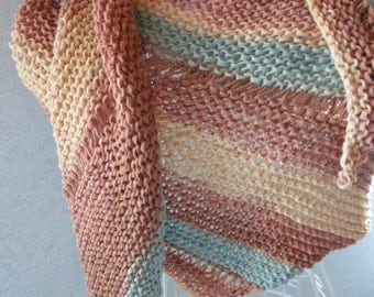 Scarf, Sommerschal, cotton scarf, asymmetrical shawl, lace pattern, handknit cloth, scarf, summer, Aqua, nature