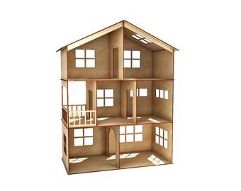 Three-story dollhouse, doll house, dollhouse, Wood dollhouse, Dollhouse kit, Natural dollhouse, Modern dollhouse, 1:12 scale
