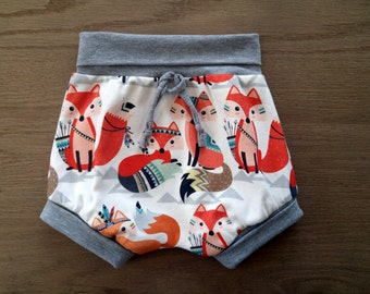 Grow with me shortie, kids clothing, baby pants, organic cotton clothes, baby gift, fox