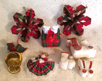 8 Vintage Tartan Christmas Ornaments Snowflake Sleigh Angel Train Bells UK Plaid Cardboard Plastic