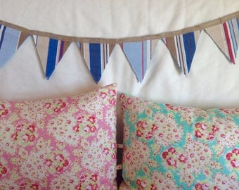 Stripy blue deckchair canvas reversible bunting!