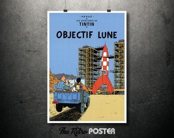 TinTin - Objectif Lune - Le Aventures De TinTin - Hergé, 1953 - Kids Gift, Nursery Decor, Nursery Wall Art, Nursery Prints, Children Gift