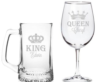 Personalized King Beer Mug and Queen Wine Glass Set - BM15OZ-AR134A / WG18OZ-AR134A