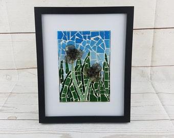 Handmade Mosaic Garden Scene Framed Picture by AMEArtistry- Mosaic Art, Home Decor, Glass art, Garden Mosaic