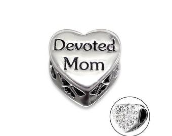 Devoted Mom CZ Heart Charm Bead, 925 Sterling Silver, fits Pandora Bracelets