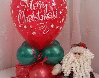 """Merry Christmas Red and Green Balloon Table Decoration AIR ONLY Easy DIY 22"""" Tall"""