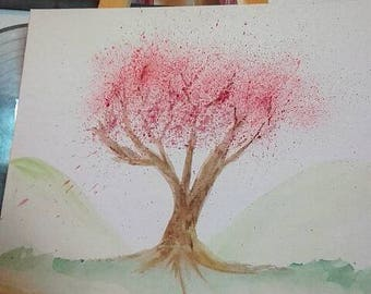 Watercolour cherry blossom tree with hills painting on canvas