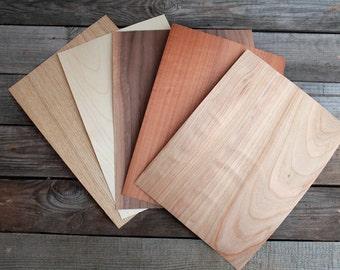 Wood veneer set 5 sheets wood veneer wooden veneer marquetry set veneer set diferent color veneer wood veneer set bentwood ring making set