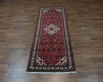 4X11 S Antique Hand Knotted Hamedan Persian Runner Rug Oriental Carpet 3'8X10'7