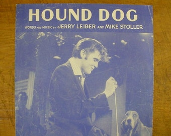 Sheet Music Hound Dog Elvis Presley Music Sheet Antique Vintage Early Rock And Roll