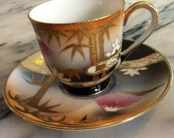 Vintage Japanese Mountains/Bamboo Bone China Tea Cup & Saucer