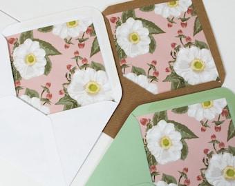 Floral Envelope Liners, Rustic Flowers Wedding Envelope Liners, Vintage Style Wedding Envelope Liners