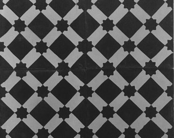 Concrete Tile-Black/White lattice Design