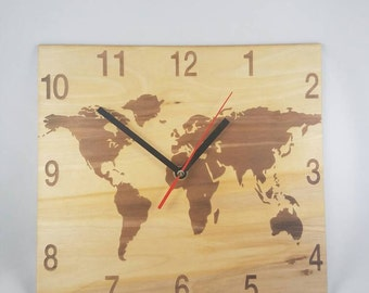 World map clock etsy world map clock wooden clock gumiabroncs Choice Image