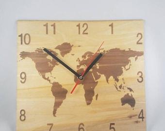 World Map Clock, wooden clock