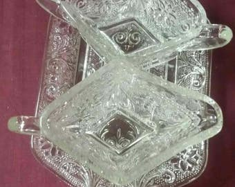 Vintage Indiana glass diamond shaped sugar and creamer set with tray.