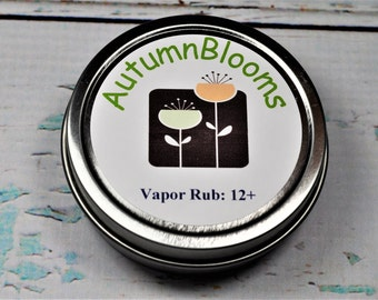 All Natural Essential Oil Vapor Rub for ages 12 and up to ADULT. No chemicals. No Petroleum. No Camphor. For Colds. Flu. Cough. Congestion.