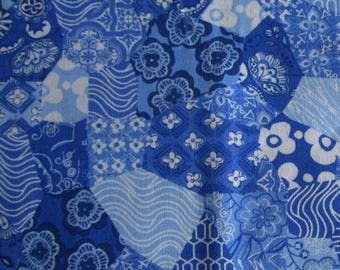 Blue patchwork fabric by P&B Textiles
