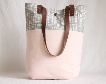 Shoulder bag with leather handles, cloth bag, everyday bag, pink and grey