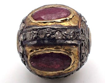 Antique Sphere Gold Plate with Ruby Accents Rose Cut Diamonds Silver Bead #5346