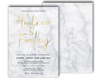Foiled Marble wedding invitation, grey and white marble wedding invitation, script, elegant, foil, gold, rose gold, silver, blue (Marble)