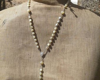 French vintage mother of pearl beaded rosary