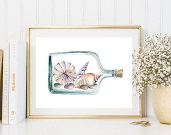 Glass bottle shell watercolor print illustration sea ocean painting poster wall art decor home decor download print poster digital shell