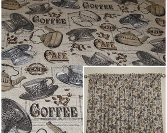 Kitchen Curtains Coffee Print Curtains Cafe Curtains Window Treatments 83  Inch Wide Curtain 40 Inch Long