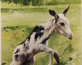 """Bruce Harvey (born 1931) Listed New Zealand artist """"NEWBORN"""" Baby Goat Painting - Hand Painted with Tempera paint, hand signed in pencil"""