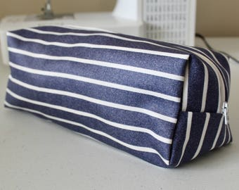 MADE TO ORDER Modern striped cosmetic bag; denim-like striped cotton fabric cosmetic/makeup bag