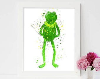 Kermit the Frog Print, Muppet Print, The Muppets Art, Muppet Art, Watercolor Printable ,Muppet Poster, Muppet Decor, Nursery Printable