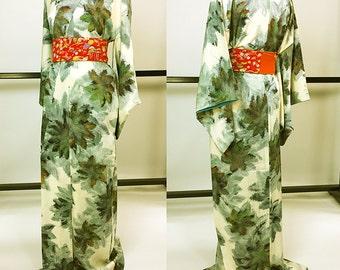 Japanese K0118 Ivory Komon Kimono Vintage Unique