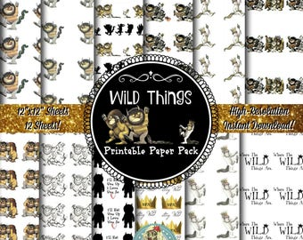 Where the Wild Things Are Digital Scrapbook Paper, Where the Wild Things Are Scrapbook Paper, Where the Wild Things Are Printable Paper