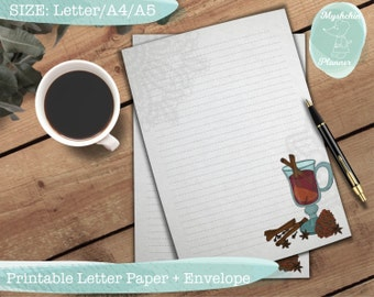 Printable writing paper Printable letter paper Printable envelope Printable stationary Mulled wine letter paper Lace doily writing paper