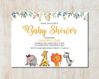 Cute Zoo Animals Baby Shower Invitation - DIGITAL FILE