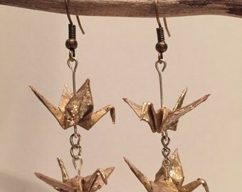 Origami paper cranes gold glitter earrings
