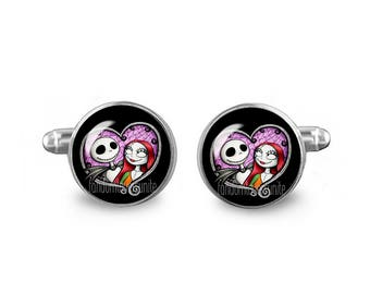 Jack Skellington Sally Cuff Links 16mm Cufflinks Gift for Men Groomsmen Novelty Cuff links Fandom Jewelry