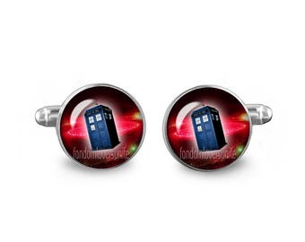 Tardis Cuff Links Police Box Cuff Links 16mm Cufflinks Gift for Men Groomsmen Dr Who Cuff links Fandom Jewelry