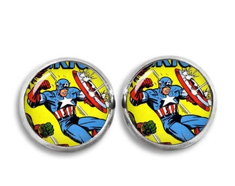 Captain America Stud Earrings Captain America Comic earrings Superhero Geeky Fandom Jewelry Cosplay Fangirl Fanboy